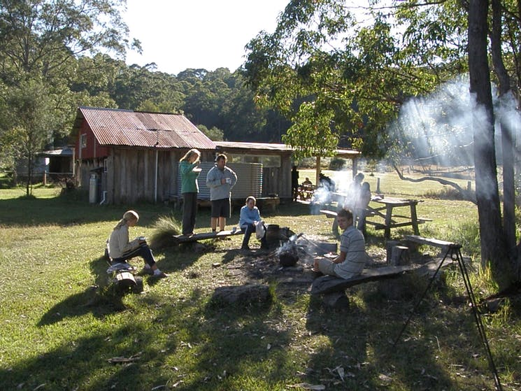Campfire breakfast at Callicoma Hill Bunkhouse