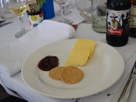 The Cheese Plate with the Cheese from Stanthorpe Cheese served with Rosella  Paste and Oaty Joes
