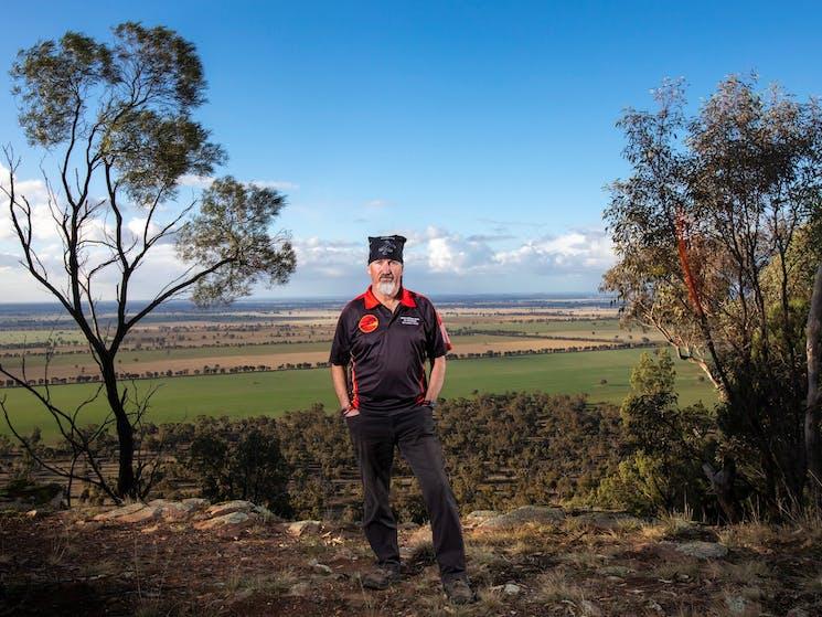 Bundyi Aboriginal Cultural Tours guide Mark Saddler at Galore Hill Lookout