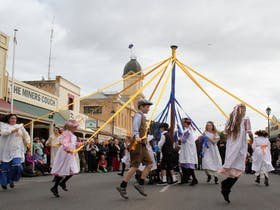 Kernewek Lowender -  traditional Maypole Dance in the street