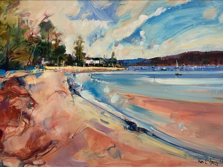 Ken Strong original oil painting - Pittwater Bay Side