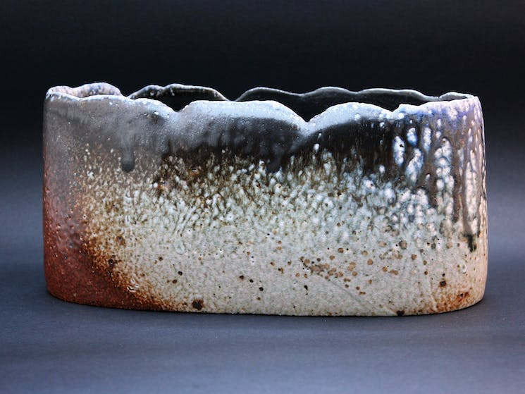 Rough Woodfired Bowl fired in a special kiln for three days and nights. Rough textures come from ash