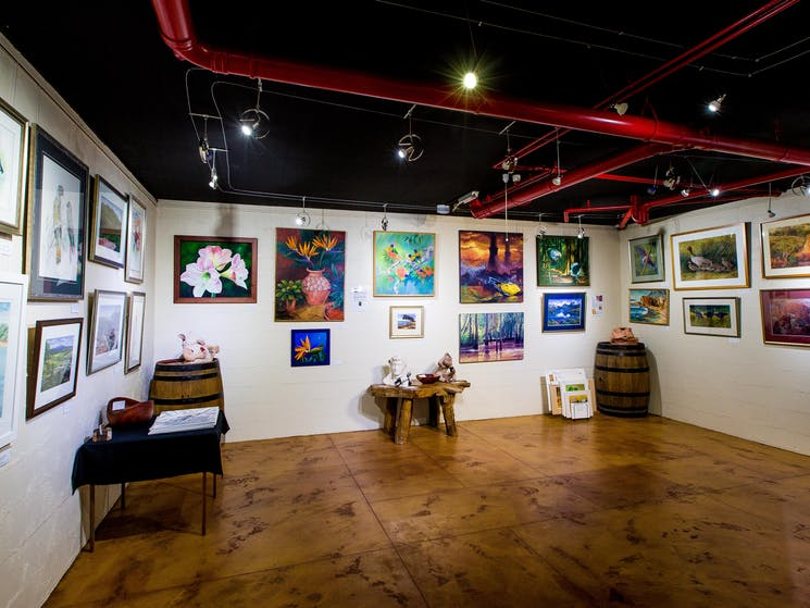 Long Point's Cellar Door is also an art gallery whih changes artists every 8 weeks