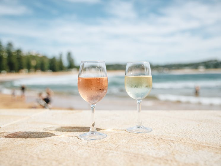 The perfect place to enjoy a wine by the beach. Right on the Point at Avoca Beach