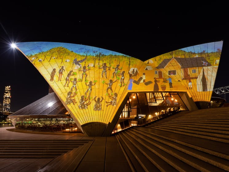 Sydney Opera House sails lit up with First Nations artwork