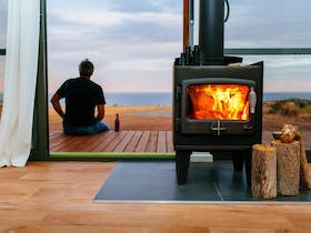 Fireplace with view to ocean