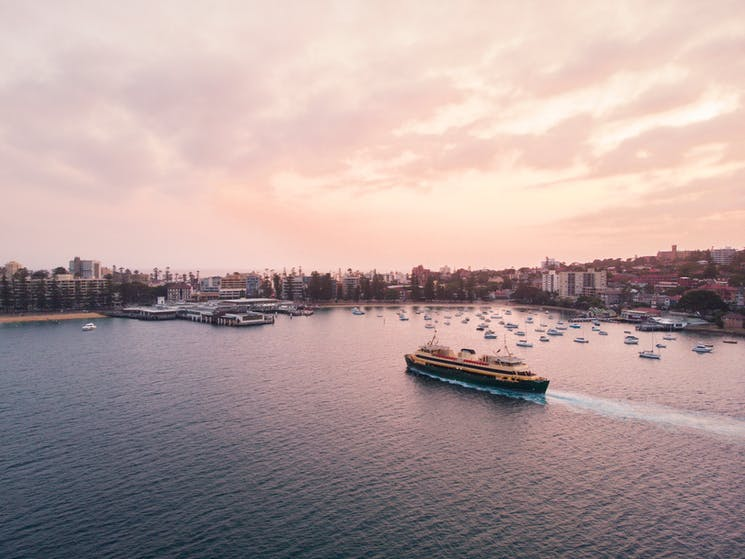 The Manly ferry service arriving at Manly Wharf