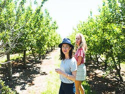 Two girls walking through a heritage apple orchard