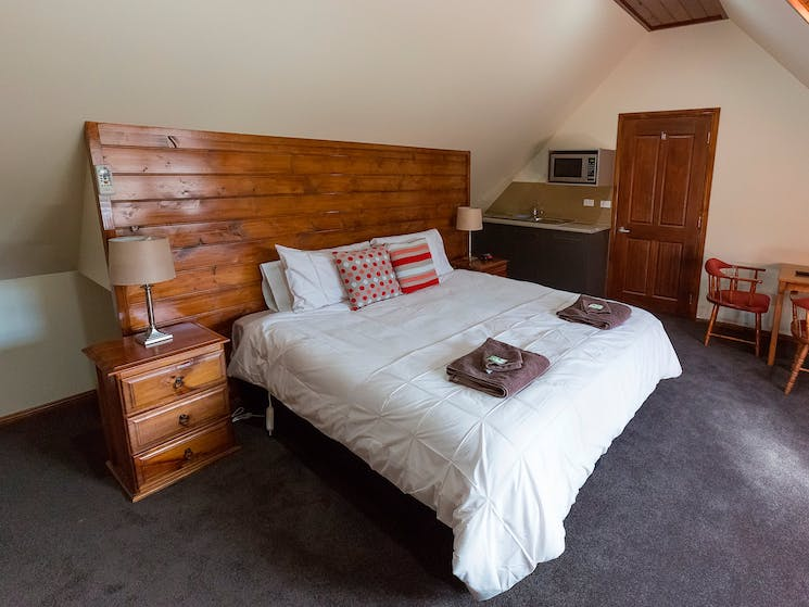 This is their most luxurious room, with a king bed and a single, a full sized bathroom with spa bath
