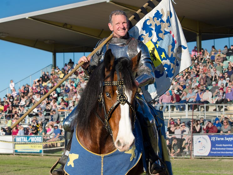 Sir Darrell and his steed at the Winterfest Joust
