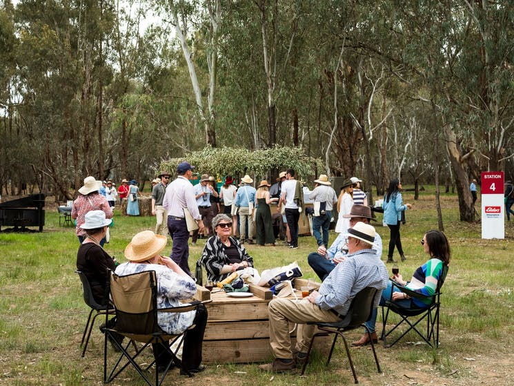 guests enjoying their meal in a natural bush setting