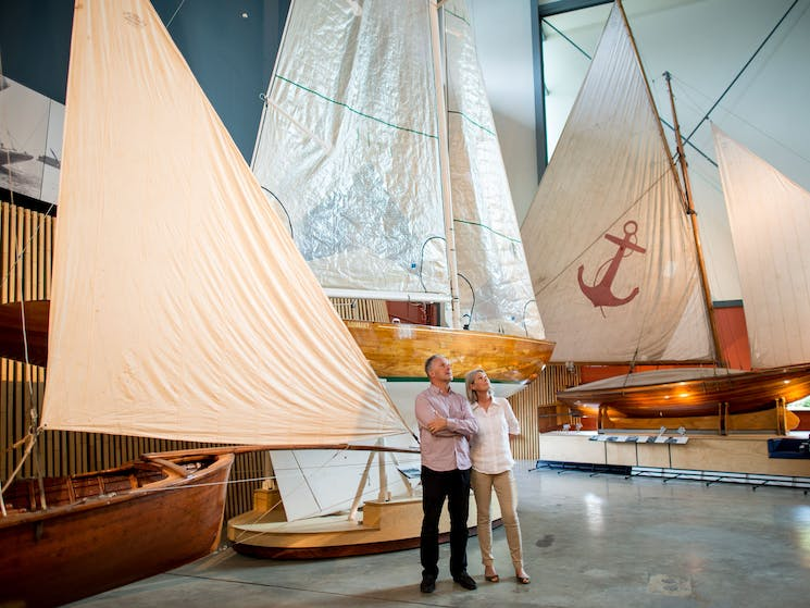Historical wooden boats in the Heritage Gallery at the Australian National Maritime Museum
