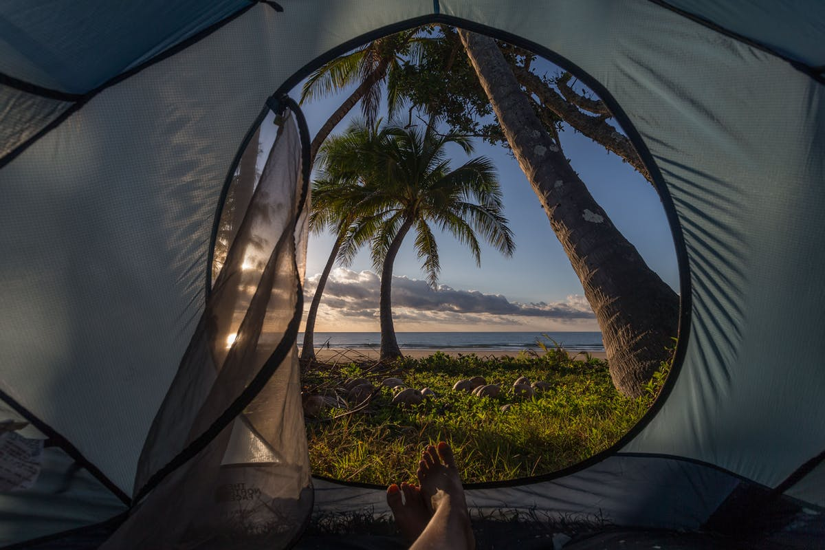 Camping at Mission Beach overlooking Dunk Island