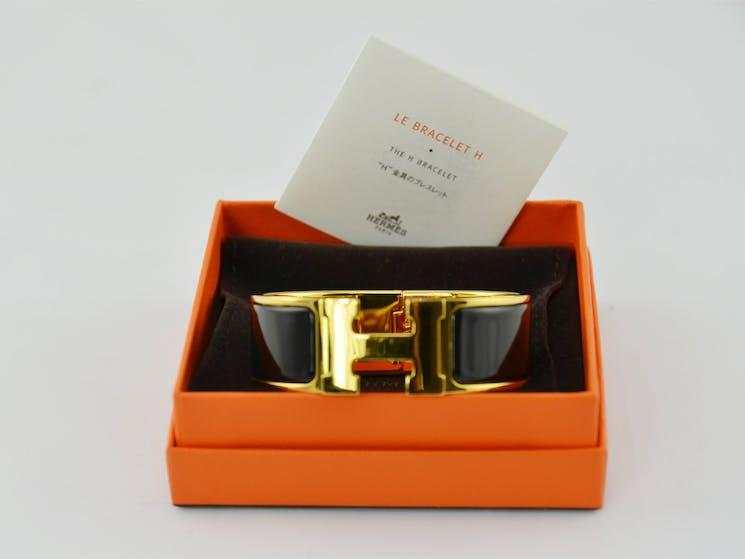 Black Enamel and Gold H Bracelet
