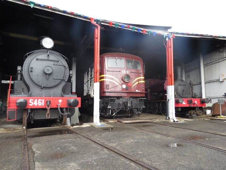 Steam loco 5461 and electric 4601 typify the pilot engines operating at the Depot over 75 years