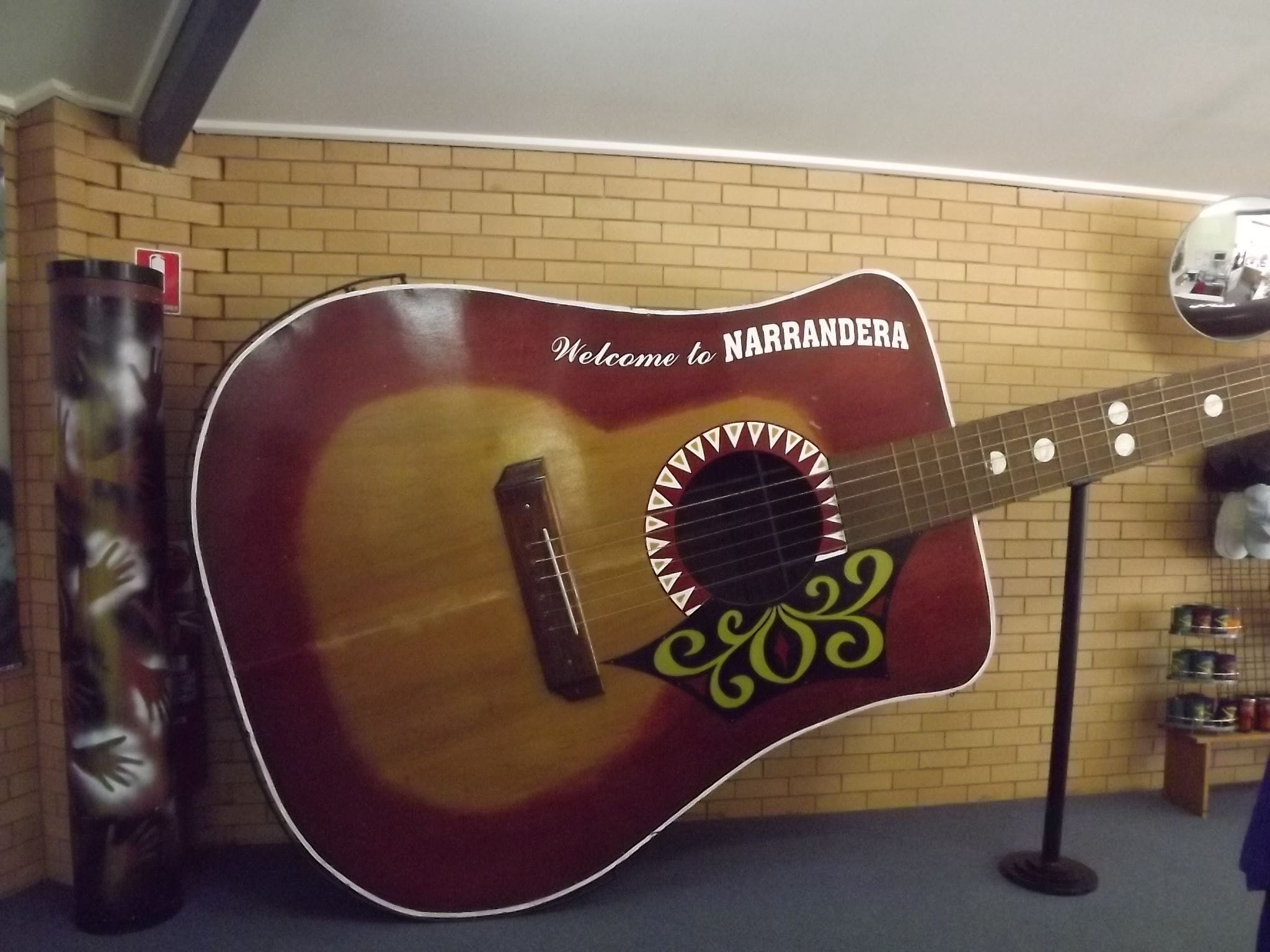 Big Guitar inside the Narrandera Visitor Infromation Centre
