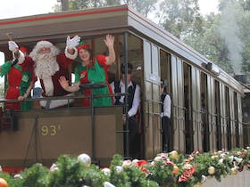 Santa Arrives by Steam Tram*