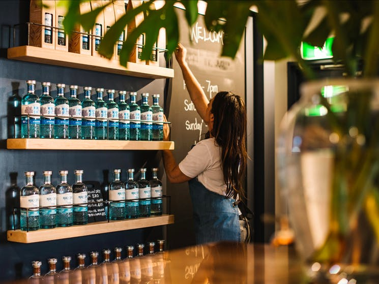 Manly Spirits Co. Distillery Tasting Bar display