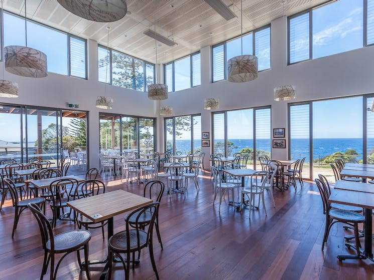 Tathra Hotel Bistro area with amazing ocean view.