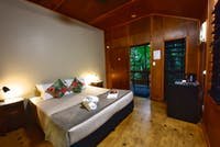 Interior of the Mackay Cabins nestled in the rainforest at Cape Trib Beach House.