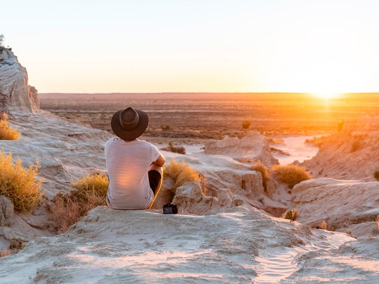 Watching sunset at the Walls of China in Mungo National Park