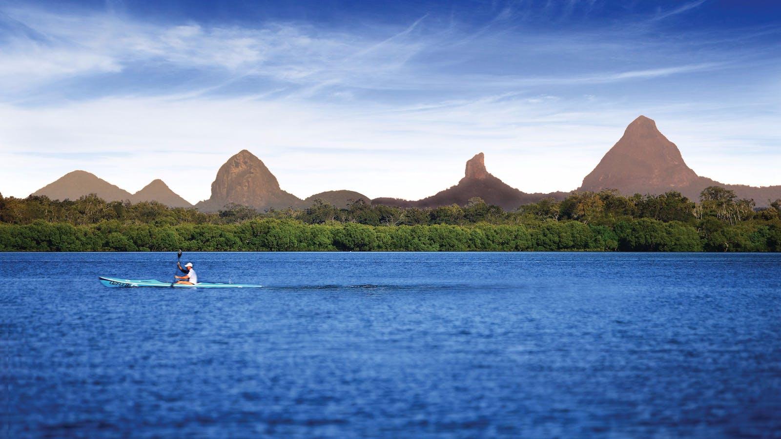 Kayak and Glass House Mountains