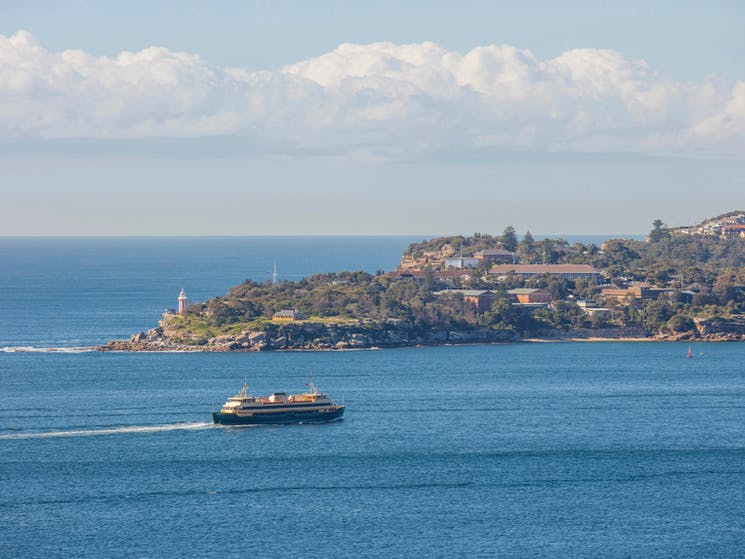Stunning coastal view of the Manly Ferry passing through Sydney Harbour