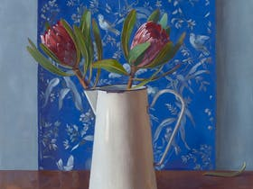 Crispin Akerman - 'Proteas and Antique Wallpaper', 2019, Oil on Linen, 66 x 56cm