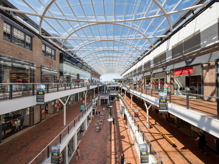 Open air shopping centre. Inside Birkenhead Point.