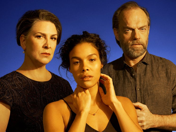 Pamela Rabe, Zahra Newman and Hugo Weaving in Cat on a Hot Tin Roof