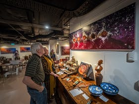 Cultural artefacts for sale in the gallery