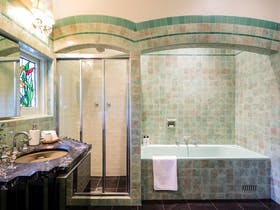 You'll love the stunning tiles in this bathroom