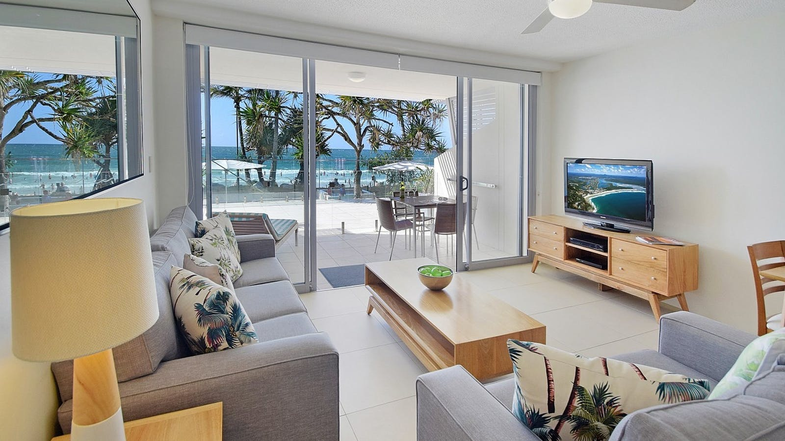 Direct Beach Access Living Area