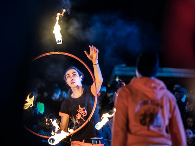 Fire Twirlers at Lost Lanes 2018
