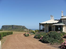 Highfield historic homestead with the Stanley Nut in the background.
