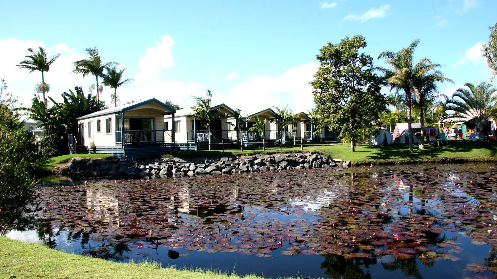 Fraser Lodge Holiday Park - Pond view