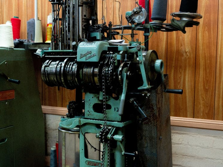 Lindner Socks are knitted on vintage machines at the Sock Factory in Crookwell, NSW.