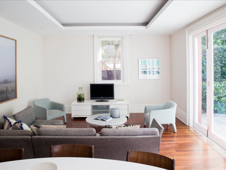 Bright living room and its access to television set