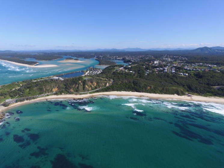 Strip of white sand along the east side of Nambucca Heads