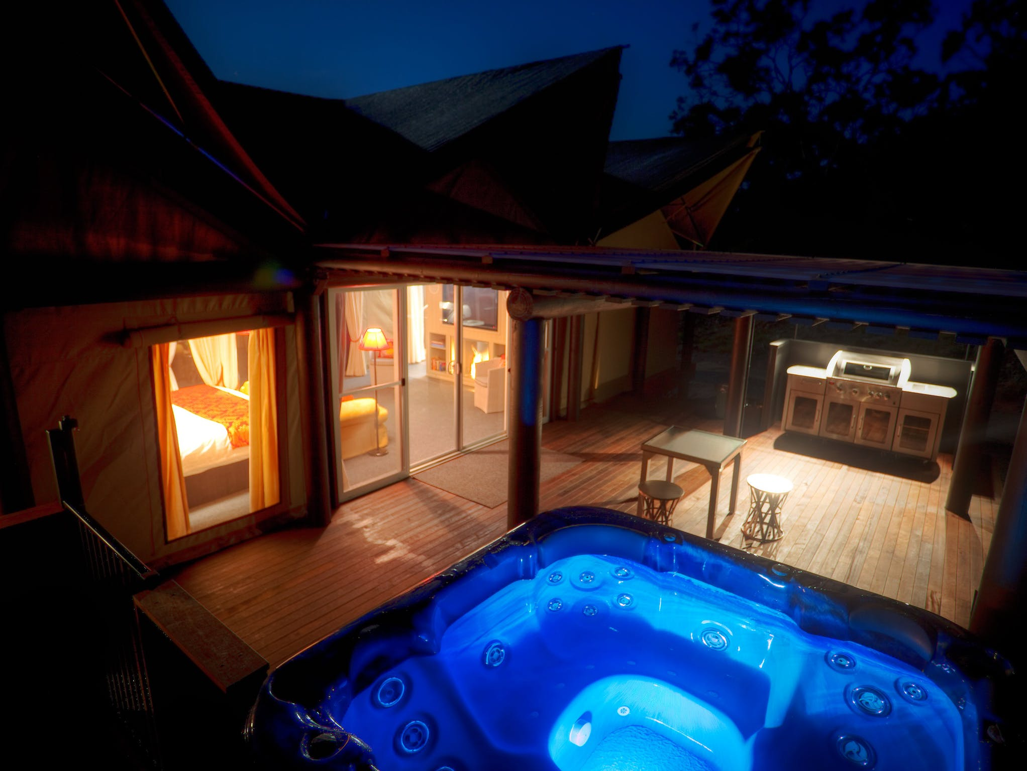 Luxury tent deck and spa