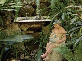 Examples of sculpture and art installations in Wendy Whiteley's Secret Garden, Lavender Bay