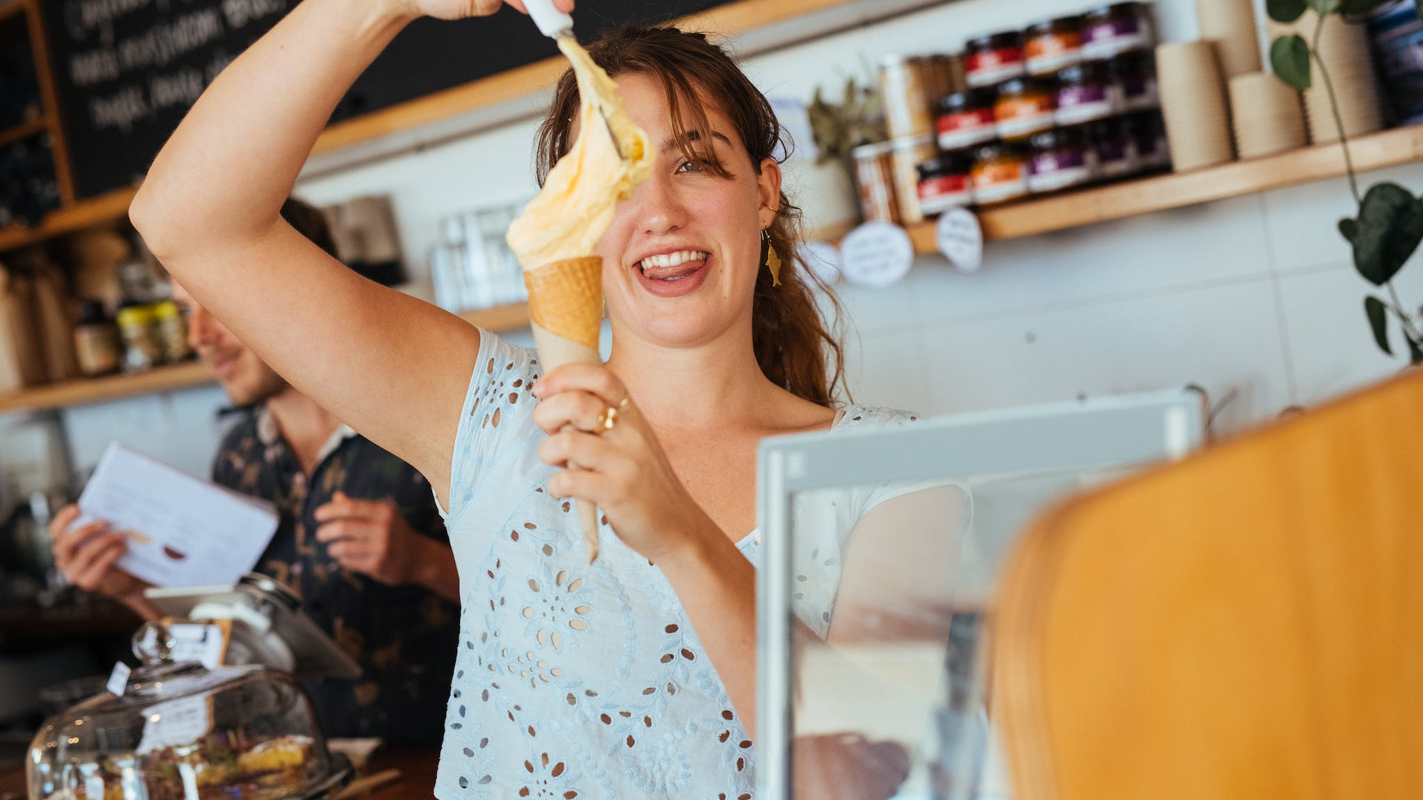 Cup, cone, milkshake, frappe or creamy Iced Coffee or Iced Chocolate - delicious fresh gelato