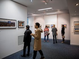 People exploring the gallery