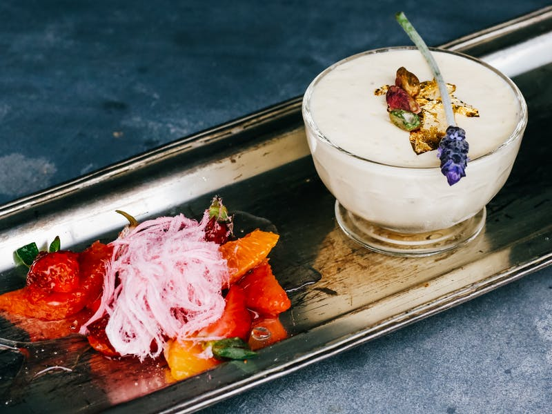 Honey and pistachio semifreddo with lavender syrup and Iranian fairy floss