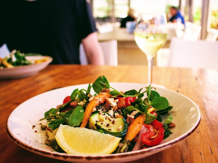 Lunch in a beachside cafe - Wildlife, Waterfalls and Wine full day tour from Sydney