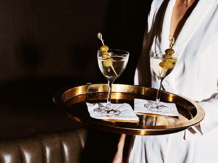 Martini on tray