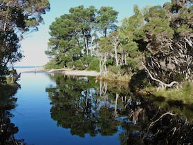 Eagles Rise Tasmania is an ideal location for a holiday with beautiful beach, creek with reflections, Rocky Cape National Park with hiking trails.