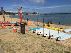 our Stand Up Paddle boards are on the beach ready for hire - Mornington Peninsula Melbourne