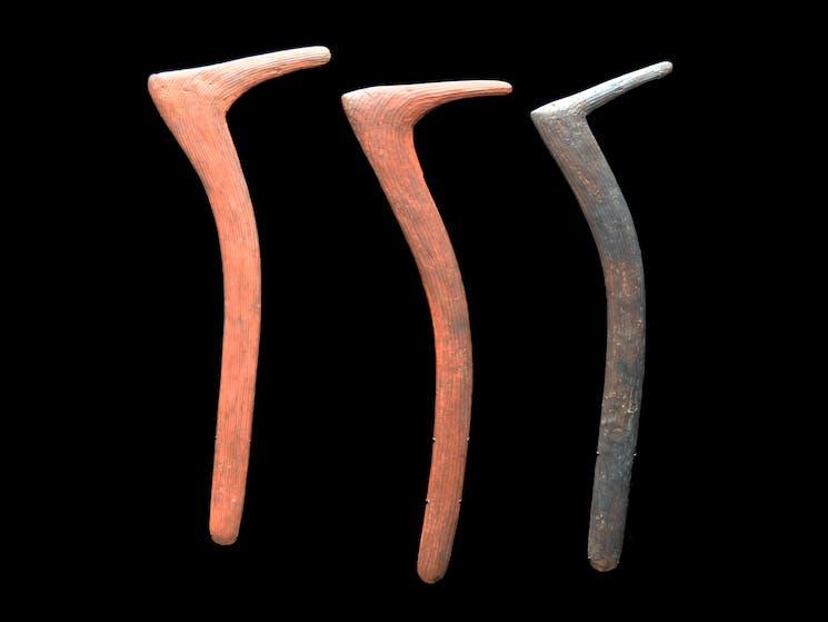Three Australia Aboriginal Hooked Boomerang, Northern Territory