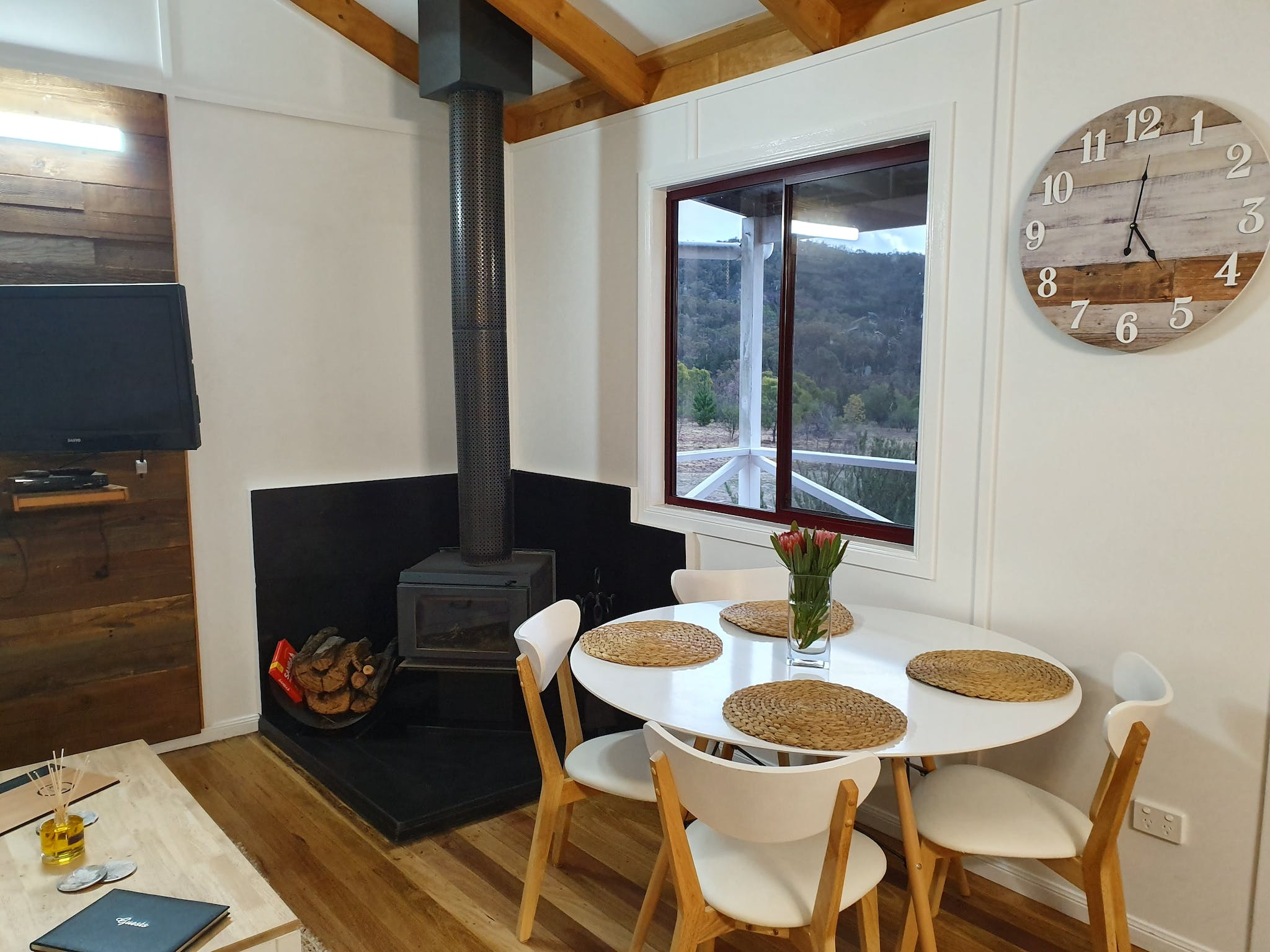 Fireplace and dining